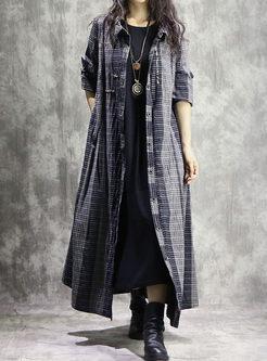 Lapel Single-breasted Long Shirt Coat