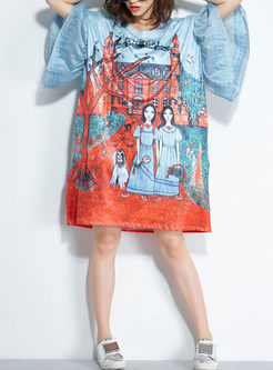 Loose Print O-neck Flare Sleeve T-shirt Dress