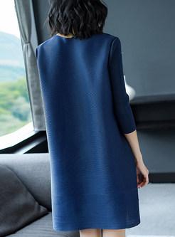 Street O-neck Print Shift Dress