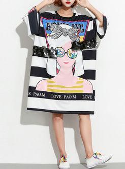 Trendy Print O-neck Loose T-shirt Dress