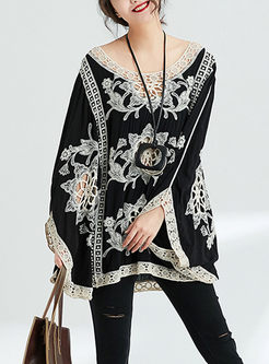 Ethnic Embroidered Hollow Out Bat Sleeve Loose Kimono