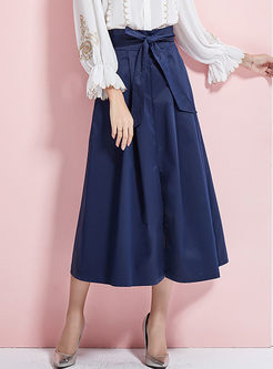 Stylish Pure Color Belted Hem Pleated Skirt