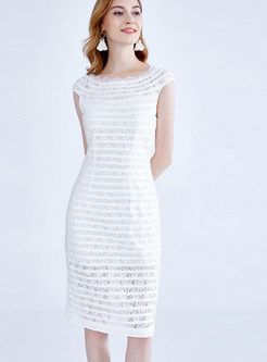 Fashion Solid Color Slash Neck Lace-paneled Bodycon Dress