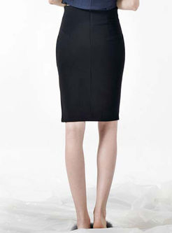 Black Drilling Zippered Slit Sheath Skirt