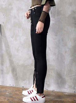 Chic Black Slit Pencil Pants