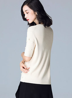 Vintage Pullover Half Sleeve Top With Pearl Embellishment
