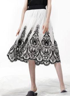 Vintage Print Elastic Waist Skirt
