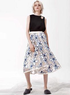 Elastic Waist Stereoscopic Flower Gauze Skirt