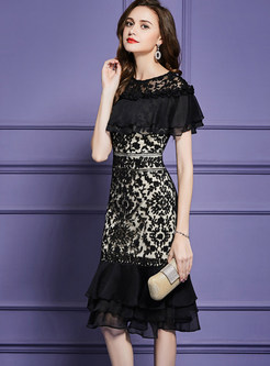 Lace Shawl Collar Splicing Embroidered Flouncing Dress