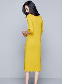Half Sleeve V-neck All-match Sheath Knitted Dress