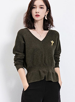 Fashionable Double V-neck Gathered Waist Sweater