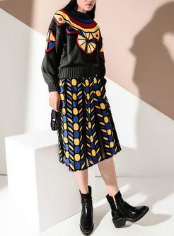 Trendy Splicing High Waist Perspective Skirt