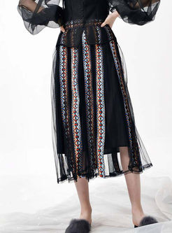Jacquard Splicing High Waist Pleated Skirt