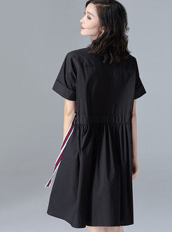 Turn-down Collar Pure Cotton Self-Tie Dress