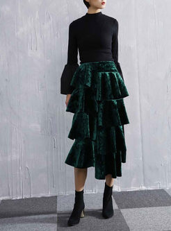 Vintage Pure Color Asymmetric Layered Skirt