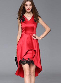 Stylish Monochrome V-neck Lace High-Low Dress