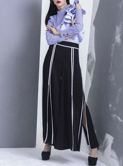Color-blocked High Waist Zippered Slit Wide Leg Pants