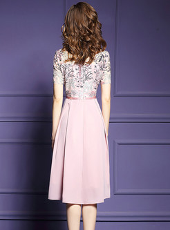 Pink Mesh Embroidered Hollow Out Splicing Dress