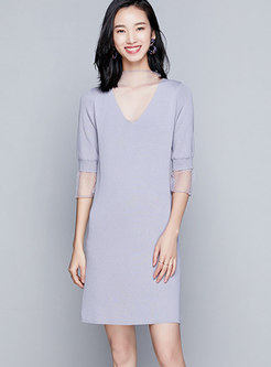Chic Lace-paneled Semi-sheer Detail Hollow Out Dress
