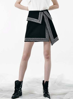 High Waist Drilling Asymmetric Mini Skirt