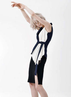 Asymmetric Splicing V-neck Sleeveless Belted Vest