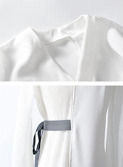 Asymmetric Splicing V-neck Lantern Sleeve Belted Coat