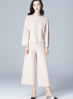 Brief Vintage Knitted Two-piece Outfits With Pearl Embellishment