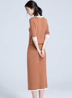 Color-blocked V-neck Sweater Split Two Piece Dress