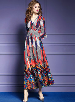 Flare Half Sleeve Asymmetric Slit Silk Maxi Dress