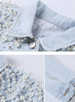 Light Blue Single-breasted Beaded Lapel Denim Coat