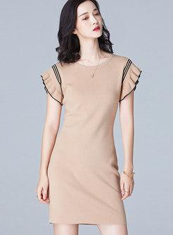 Stylish O-neck Skinny Sheath Knitted Dress