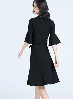 Brief Half Flare Sleeve Tied Front Knitted Dress