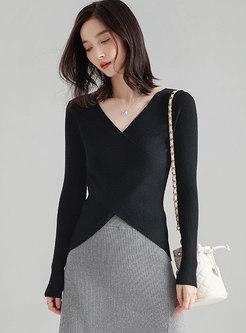 Elegant Deep V-neck Solid Color Wool Sweater