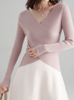 Stylish Deep V-neck Solid Color Wool Sweater