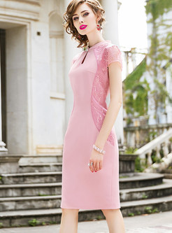 Vintage Mandarin Collar Mesh Embroidered Splicing Dress