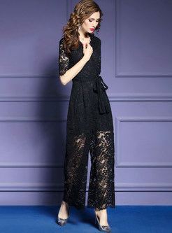 Half Sleeve Lace Perspective Tied Straight Jumpsuits