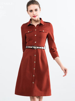 Brief Shirt Collar Metal Single-breasted Belted Dress