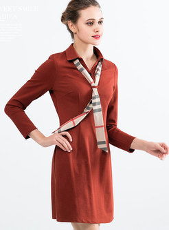 Turn-down Collar Pure Color Long Sleeve A Line Dress