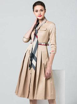 Brief Crew-neck Half Sleeve High Waist Pleated Dress