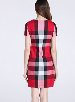 Retro O-neck Plaid Gathered Waist Sheath Dress