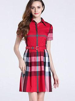 Fashion Plaid Color-block Belt Decoration Skater Dress