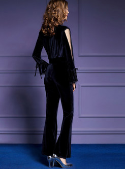 Sexy Perspective Long Sleeve Tie-waist Velvet Jumpsuits