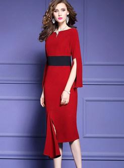 Slash Neck Long Sleeve Slit Homecoming Dress