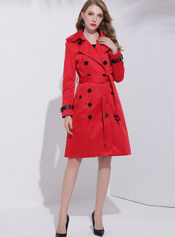 Red Turn-down Collar Cotton Double-breasted Trench Coat