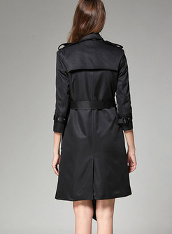 Black Metal Double-breasted Trench Coat