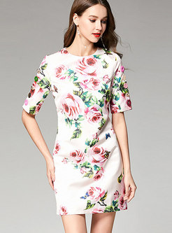Casual All Over Digital Print Dress With Button Decoration
