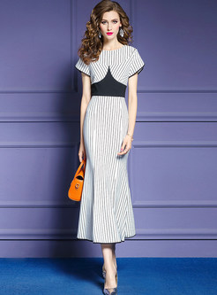 Stylish Striped Color-blocked Slim Maxi Dress