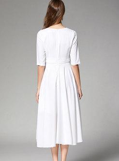 Elegant White V-neck Tie-waist Big Hem Dress