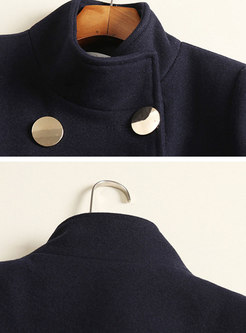 Autumn Stand Collar Two Pockets Coat With Double-breasted