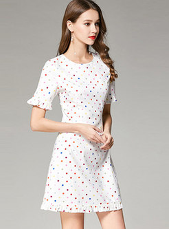 Fashion Print Crew-neck Falbala Hem Skater Dress